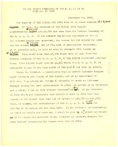 Thumbnail of Memorandum from W. E. B. Du Bois to the National Association for the Advancement of Colored People