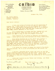 Letter from George W. Streator to W. E. B. Du Bois