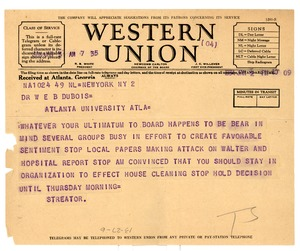 Thumbnail of Telegram from George Streator to W. E. B. Du Bois