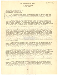 Thumbnail of Letter from W. E. B. Du Bois to the National Association for the Advancement of Colored People
