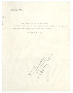 Thumbnail of The charter of the United Nations and its provisions for human             rights and the rights of minorities and decisions already taken under this charter