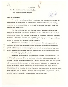 Thumbnail of A  petition to the President of the United States, the Honorable John F. Kennedy
