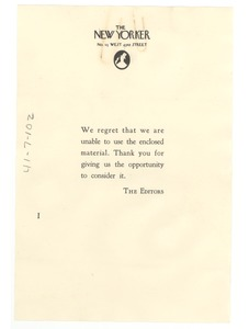 Thumbnail of Form letter from New Yorker to W. E. B. Du Bois