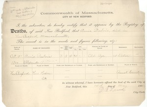 Thumbnail of Death record of Annie Du Bois