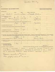 Thumbnail of Negro and mulatto families questionnaire