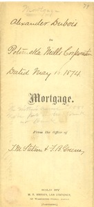 Thumbnail of Mortgage from Alexander Du Bois to Potomska Mills Corporation