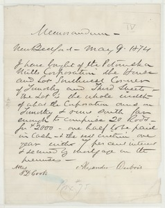 Thumbnail of Letter from Alexander Du Bois to T. D. Cook