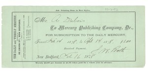 Thumbnail of Daily Mercury subscription receipt