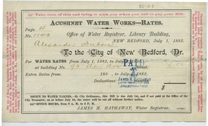 Thumbnail of Acushnet Water Works bill for Alexander Du Bois