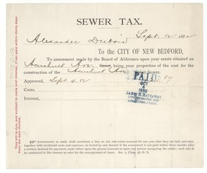Thumbnail of City of New Bedford sewer tax for Alexander Du Bois
