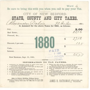 Thumbnail of City of New Bedford state, county and city real estate taxes