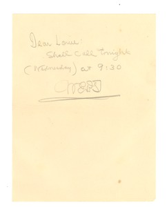 Thumbnail of Note from W. E. B. Du Bois to Louie Shivery