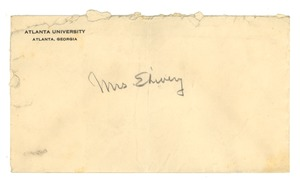 Thumbnail of Letter from W. E. B. Du Bois to Louie Shivery