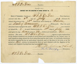 Thumbnail of W. E. B. Du Bois contract with the directors of school district no. 13