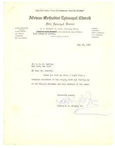 Thumbnail of Letter from Bishop R. R. Wright, Jr. to W. E. B. Du Bois
