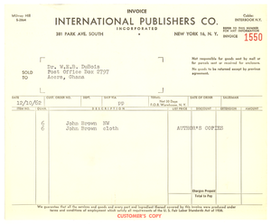 Invoice from International Publishers, Co.