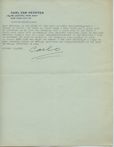 Thumbnail of Letter from Carl Van Vechten to Shirley Graham Du Bois