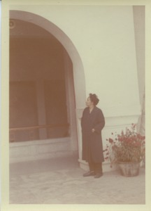 Thumbnail of Shirley Graham Du Bois outside an unidentified building