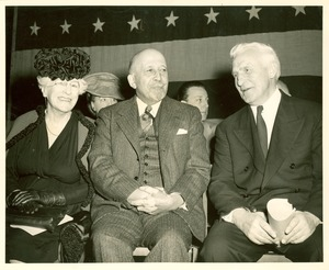 Thumbnail of W. E. B. Du Bois, Maude Slye and A. Eustace Haydon at the Crisis Rally