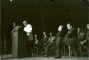 Thumbnail of W. E. B. Du Bois delivering speech at 90th birthday celebration in Chicago, 1958
