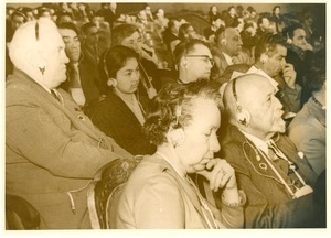 Thumbnail of W. E. B. Du Bois and Shirley Graham Du Bois in audience at conference in Soviet Union
