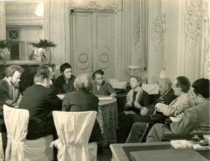 Thumbnail of W. E. B. Du Bois, Shirley Graham Du Bois, and others at conference in Leningrad