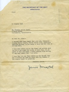 Thumbnail of Letter from James Forrestal (Secretary of the Navy) to Stanley Walter Lipski