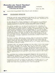 Thumbnail of Memorandum from the Research Department, American Newspaper Guild, re: Scripps             Howard negotiations