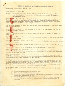 Thumbnail of Minutes of meeting of 1945 National Elections Committee, American Newspaper Guild