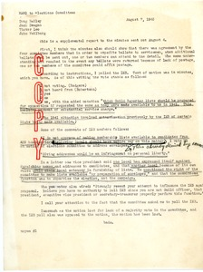 Thumbnail of Memo from Wilbur E. Bade to the National Elections Committee