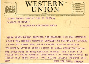 Thumbnail of Telegram from John Weilberg to Charles L. Whipple