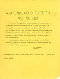 Thumbnail of National Guild Election Voting List