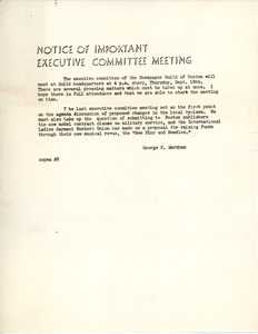 Thumbnail of Notice of important Executive Committee meeting