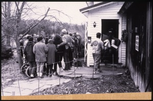 Thumbnail of Supporters gathered at the home of war tax resisters Randy Kehler and Betsy             Corner, around the time of their eviction
