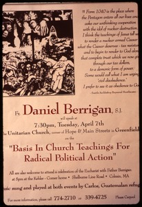 Thumbnail of Poster for talk by Daniel Berrigan, 'Basis in church teachings for radical             political action,' in support of war tax resisters Randy Kehler and Betsy Corner