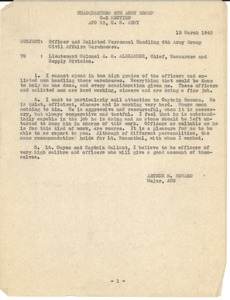 Thumbnail of Memorandum to Lt. Col. A. S. Alexander Commendation for officer and enlisted personnel handling 6th Army Group Civil         Affairs warehouses