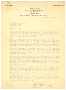 First page of American College and Normal Specialists Bureau