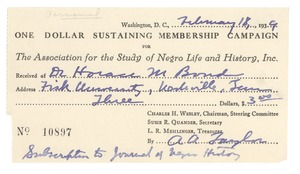 First page of Association for the Study of Negro Life and History