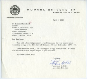 First page of Howard University. Office of Alumni Affairs