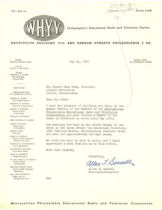 First page of Metropolitan Philadelphia Educational Radio and Television Corporation