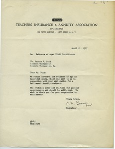First page of Teachers Insurance and Annuity Association
