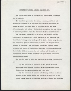 First page of                                                Africa-America Institute