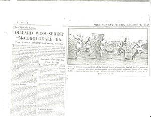 First page of Newspaper clippings: sports