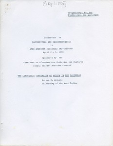 First page of Social Science Research Council (U.S.)