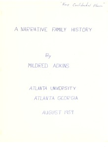 First page of Student family histories: Adkins, Mildred (Price, Lane)