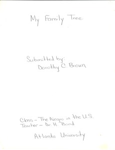 First page of Student family histories: Brown, Dorothy Clark (Drain, Virden, Smith)