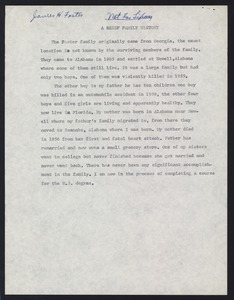 First page of Student family histories: Foster, James