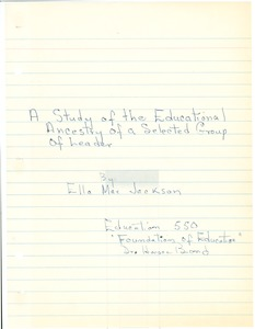 First page of Student family histories: Jackson, Ella Mae