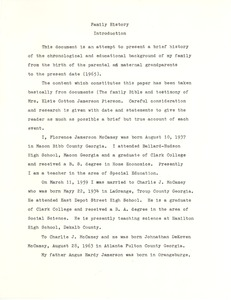 First page of Student family histories: McCamey, Florence Jamerson (Cotton, Warren)