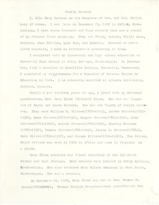 First page of Student family histories: McGowan, Ella (Brown, Withers, Little)